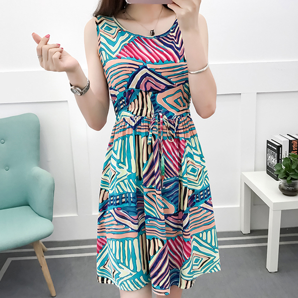 Digital Prints Beach Wear Summer Mini Dress