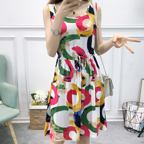 Spiral Colorful Prints Beach Wear Mini Dress