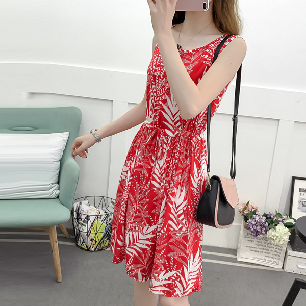 Printed Leaves Pattern Summer Beach Mini Dress - Red