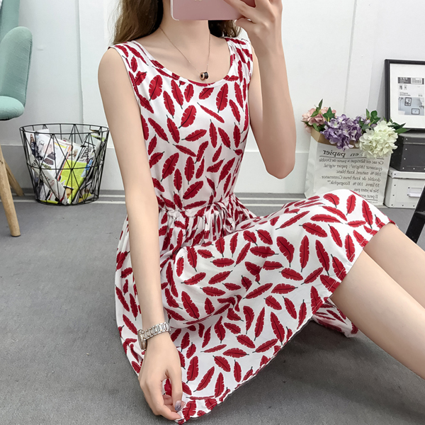 Leaves Printed Mini Length Summer Wear Dress - Red