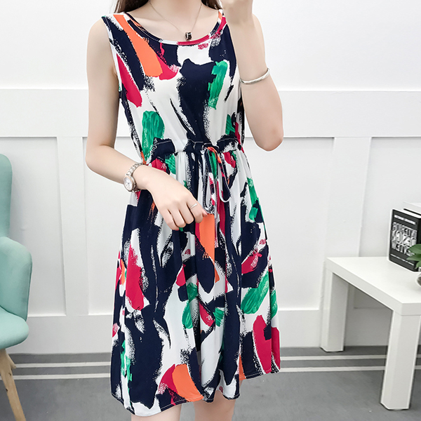 Paint Art Printed Beach Wear Summer Dress - Multicolor