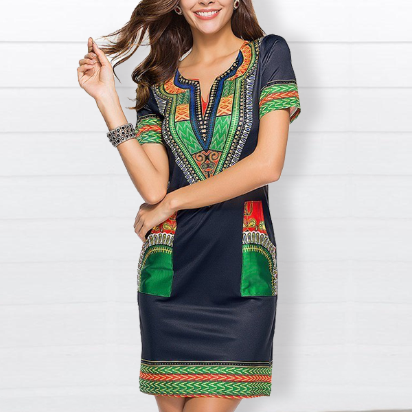 Bohemian Prints Two Pocket Mini Dress - Green