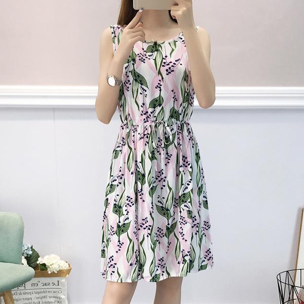 Leaves Print Sleeveless Mini Summer Dress - Green