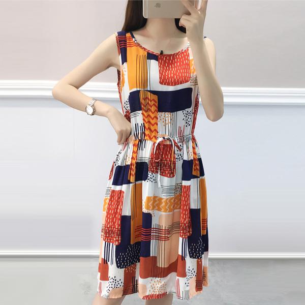 Bohemian Printed Sleeveless Mini Dress - Orange