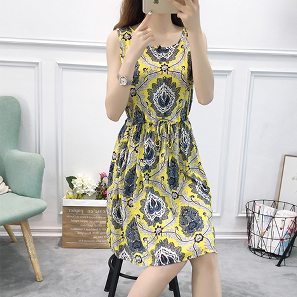 Bohemian Printed Sleeveless Mini Dress - Multi