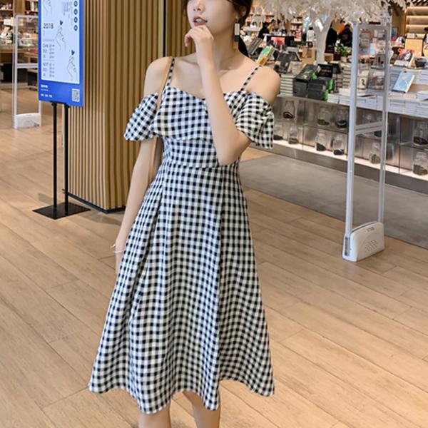 Strap Shoulder Check Prints Mini Dress