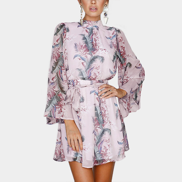 Umbrella Sleeves Printed Beach Mini Dress