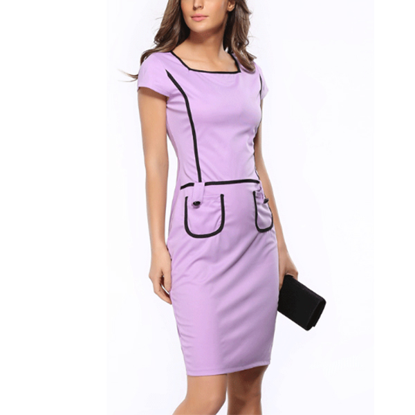Slim Casual Pocket Bodycon Dress Square Neck Women Mini Dress