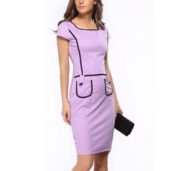 Slim Casual Pocket Bodycon Dress Square Neck Women Mini Dress