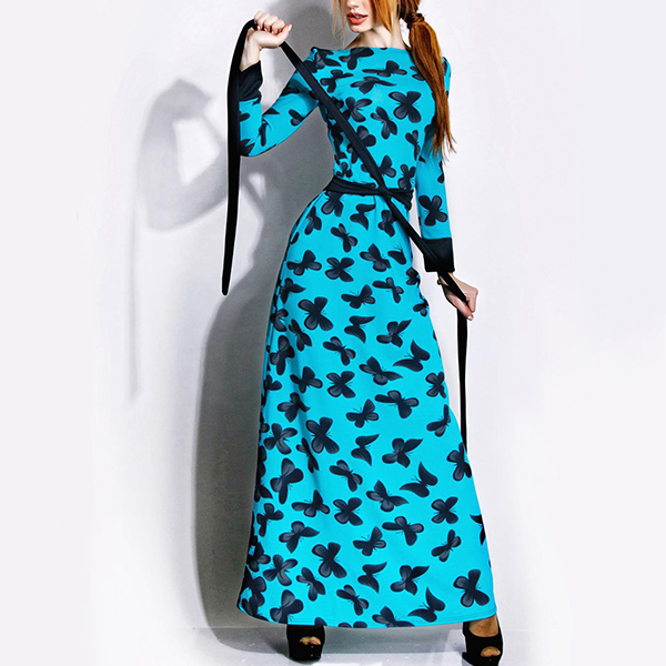 Butterfly Prints Waist Knot Maxi Dress - Blue