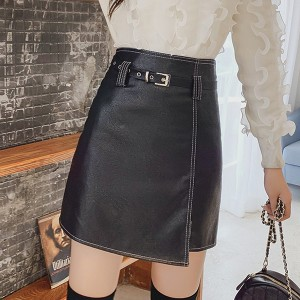Solid Pattern Belt Waist Pu Leather Skirts - Black