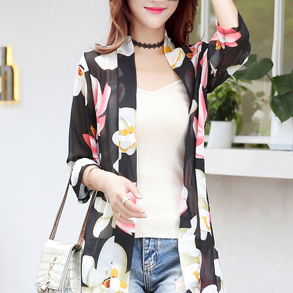 Floral Printed Thin Open Summer Coat - Black