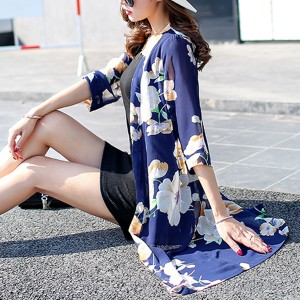 Blue Contrast Floral Open Beach Cardigan