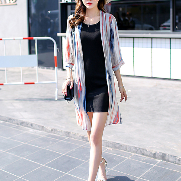 Grey Contrast Striped Open Thin Cardigan