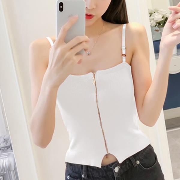 Belt Strap Shoulder Slim Fit Blouse Top - White