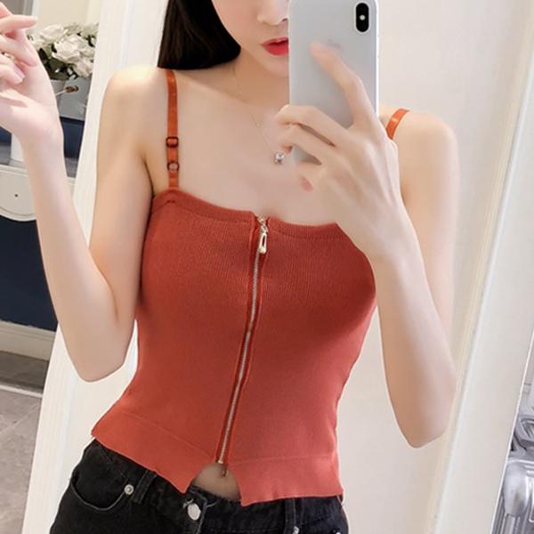 Belt Strap Shoulder Slim Fit Blouse Top - Orange