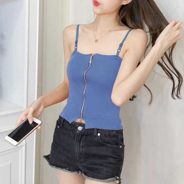 Belt Strap Shoulder Slim Fit Blouse Top - Blue