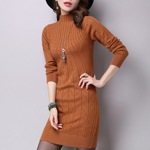 Ribbed Full Sleeves Stand Neck Mini Dress - Brown