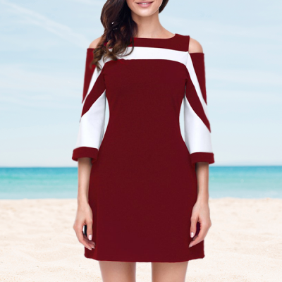 White Contrast Mini Party Dress - Burgundy