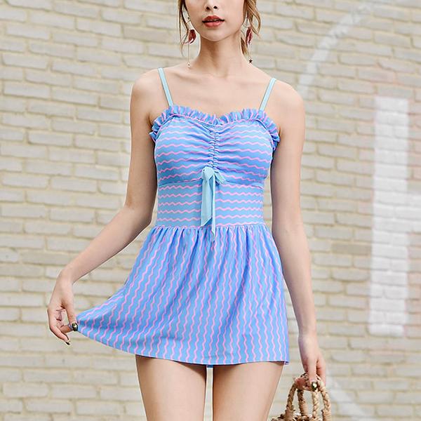 Backless Strap Shoulder Contrast Beach Wear Dress - Blue