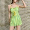 Backless Strap Shoulder Contrast Beach Wear Dress - Green
