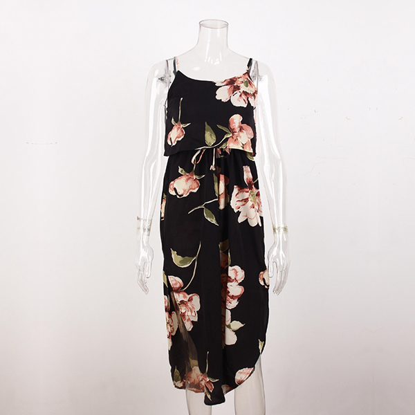 Strappy Deep Neck Floral Prints Beach Dress - Black