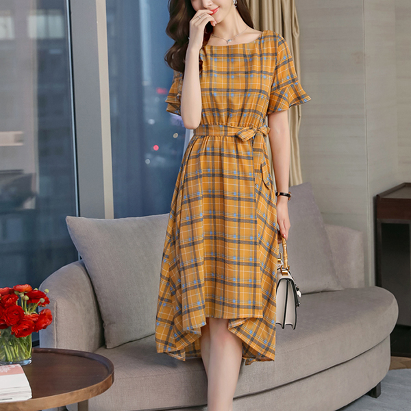 Checks Print Short Sleeves Irregular Dress - Yellow