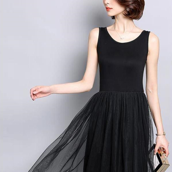 Short Sleeves Mesh Skirt Party Wear Midi Dress - Black