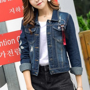 Long-sleeved Denim Loose Female Jackets - Dark Blue