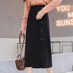 Solid Pattern Long Length Female Skirts - Black