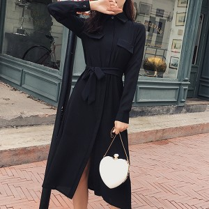 Double Pocket Full Sleeves Split Midi Dress - Black