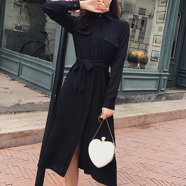 Double Pocket Full Sleeves Split Midi Dress - Black
