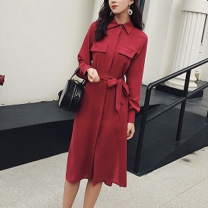 Double Pocket Full Sleeves Split Midi Dress - Red