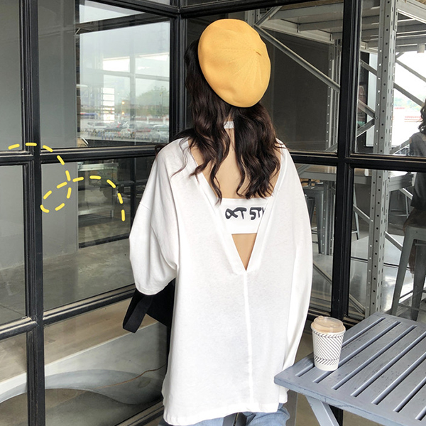 Backless Printed Round Neck Loose T-Shirt - White