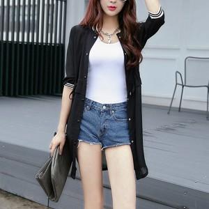 Button Up Summer Outwear Cardigan - Black