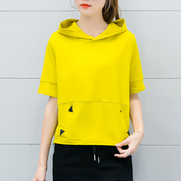 Contrast Sports Loose Hoodie Neck Two Pieces Suit - Yellow