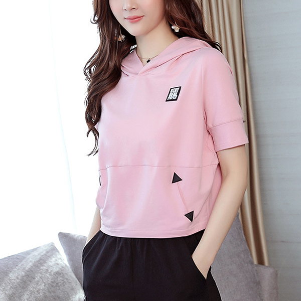 Contrast Sports Loose Hoodie Neck Two Pieces Suit - Pink