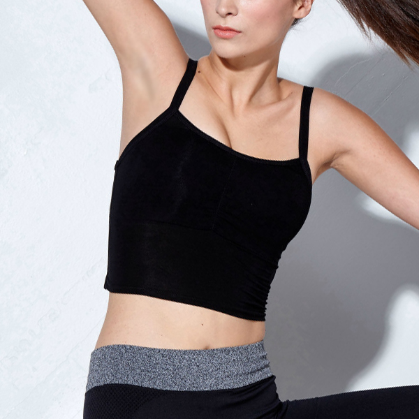 Backless Strapped Sports Wear Bra - Black