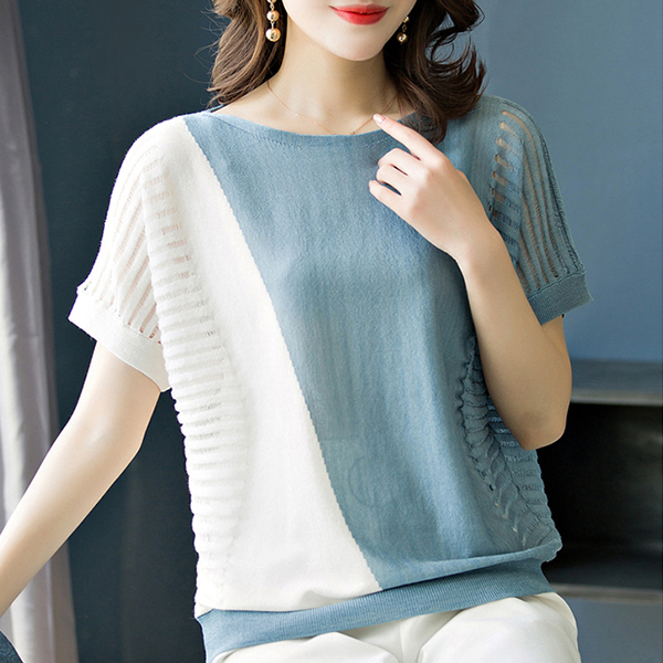 Bat Sleeves Contrast Summer Loose T-Shirt - Blue
