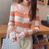 Boat Neck Contrast Long Sleeve Cotton Women Tops - Orange