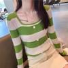 Boat Neck Contrast Long Sleeve Cotton Women Tops - Green
