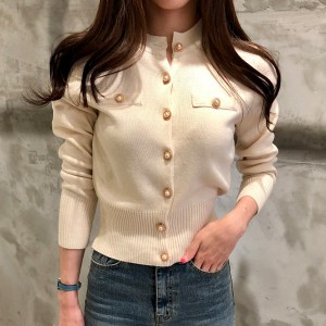 Party Wear Long Sleeve Mandarin Collar Sweaters - White