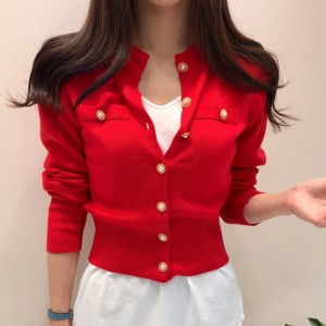Party Wear Long Sleeve Mandarin Collar Sweaters - Red