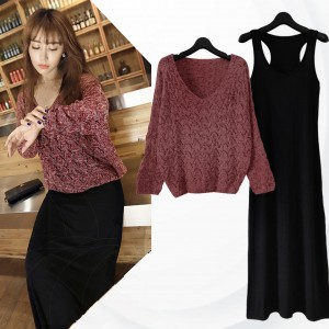 Lace Net Top With Innerwear Dress - Burgundy