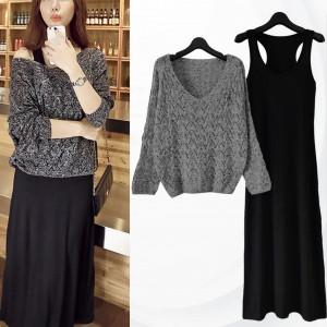 Lace Net Top With Innerwear Dress - Dark Grey