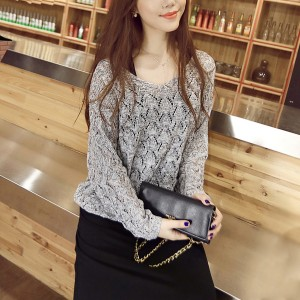 Speaker Sleeves Lace Net Outwear Top - Grey