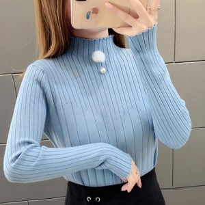 Half High Collar Long Sleeve Cotton Women Tops - Sky Blue