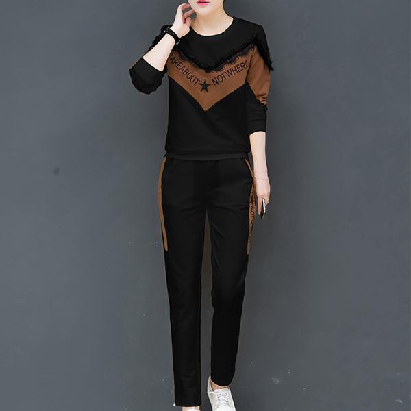 Loose Fashion Casual Sportswear Two-piece Dress - Black