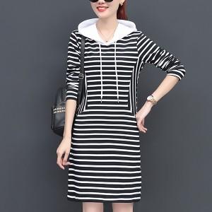 Mini-length Long-sleeved Striped Hooded Dress - Black White