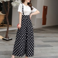 Polka Dot Prints Palazzo Bib Pants - Black